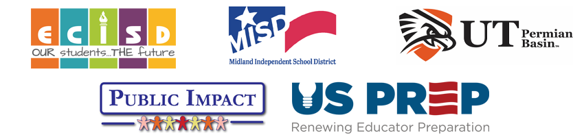 Logos for ECISD, MISD, UTPB, Public Impact and US Prep